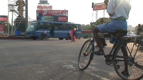 Man on a bike waiting Stock Video Footage