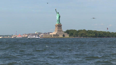 The Statue of Liberty view from government island Stock Video Footage
