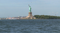 The Statue of Liberty view from government island Footage