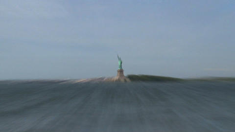 The Statue of Liberty zoom-out from government isl Footage