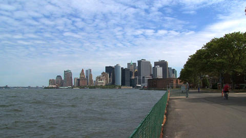 New York City skyline 2010 zoom out Footage