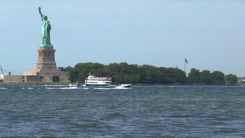 Statue cruises on his way to The Statue of Liberty Footage