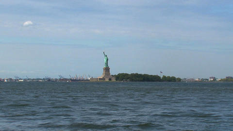 zoom out from The Statue of Liberty Footage
