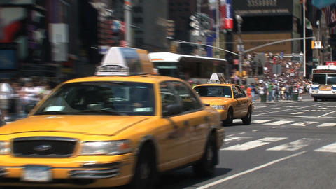 Taxis Times Square Stock Video Footage