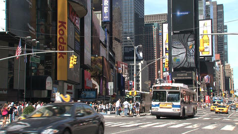 Cars and taxis at Times Square Stock Video Footage