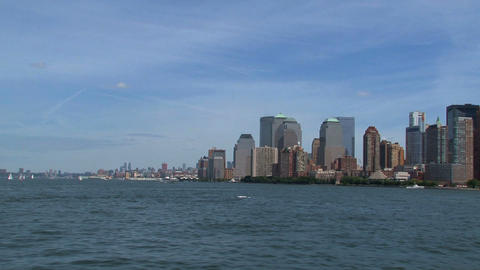 Skyline New York City view from a ferry in 2010 Live Action