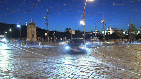 traffic time lapse, Prague Stock Video Footage