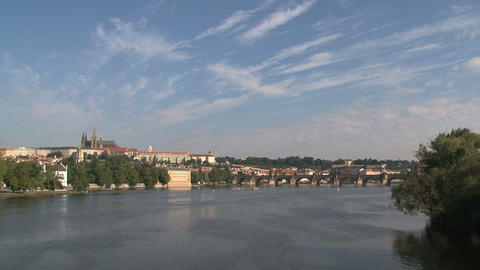 View from the Legion Bridge, Prague Stock Video Footage