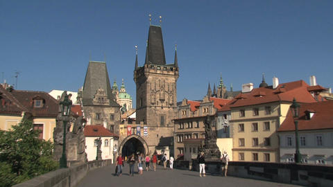 Prague castle to Bridge tower zoom-out Stock Video Footage