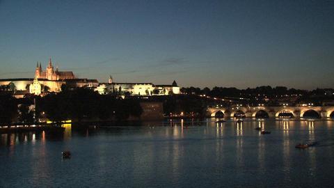 Charles Bridge at night Stock Video Footage
