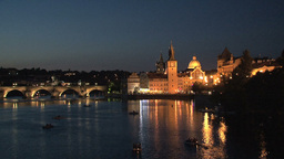 Charles Bridge at night Stock Video Footage