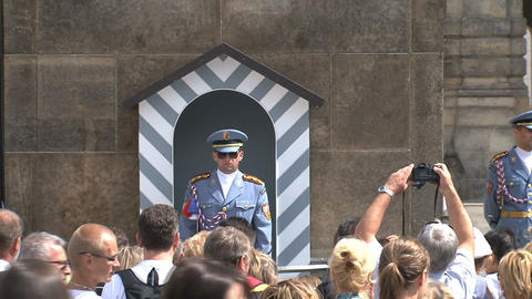 Guard at Prague castle Footage