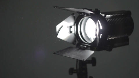 Floodlight Turning On And Dust In Air stock footage