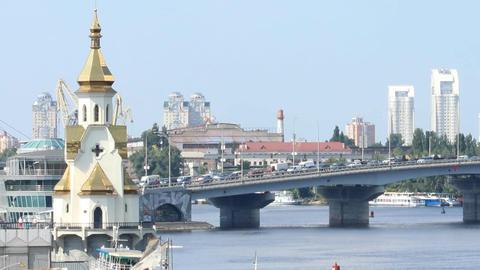 traffic on the bridge Stock Video Footage
