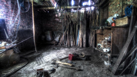4k. In The Old Barn. HDR Time Lapse Footage