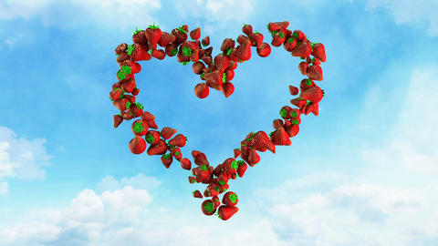 I Love Fresh Food - Strawberry Heart On Sky stock footage