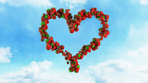 I Love Fresh Food - Strawberry Heart on Sky Stock Video Footage