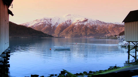 Crystal clear waters of glacial fjords Stock Video Footage