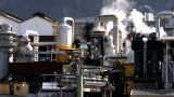 Oil Refinery Processing North Sea Oil Beside A Glacial Fjord stock footage
