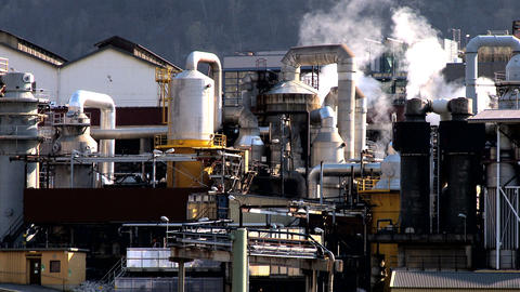 Oil refinery processing North Sea oil beside a glacial fjord Stock Video Footage