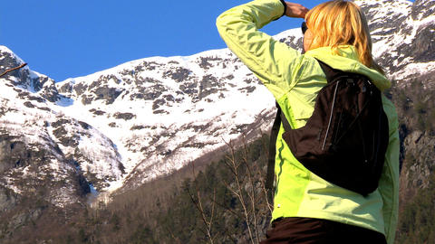 Lone young female hiker fulfilling her ambitions Stock Video Footage