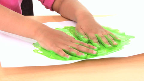 Young child early learning with hand painting Stock Video Footage