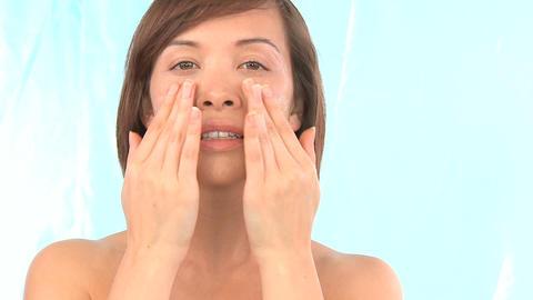 Western oriental girl showing the reward for regular skin... Stock Video Footage