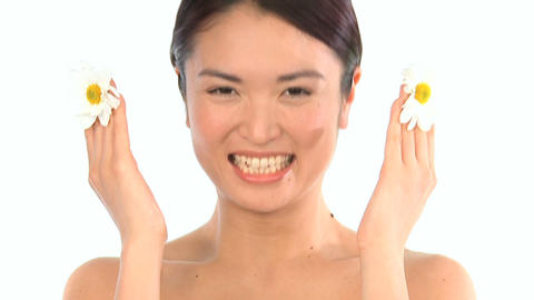 Young oriental japanese girl enjoying the therapeutic... Stock Video Footage