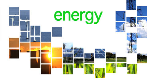 Collage of renewable energy graphics with text Footage