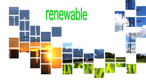 Collage of renewable energy graphics with text Stock Video Footage