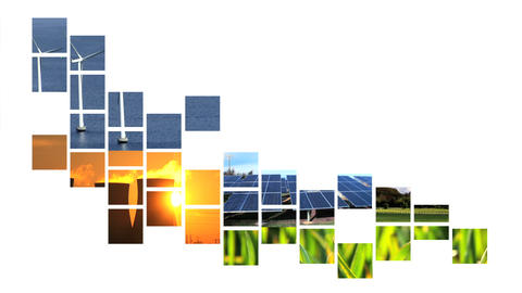 Collage of moving renewable energy graphics Stock Video Footage