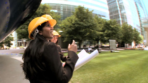 Graduate architects facilitating city construction... Stock Video Footage