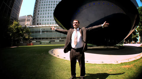 Young city business man celebrates achieving his... Stock Video Footage