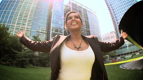 Young city business woman celebrates achieving her... Stock Video Footage