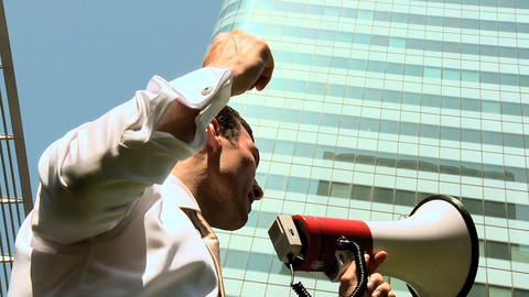 Man using loud haler Stock Video Footage