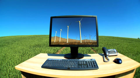 Modern technology with renewable energy graphics in a... Stock Video Footage