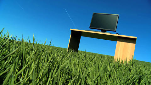 Modern technology in a conceptual office without walls Stock Video Footage