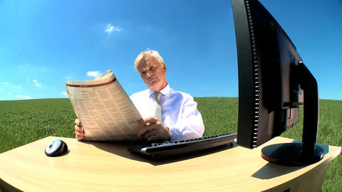Concept shot of business man relaxing in environmental... Stock Video Footage