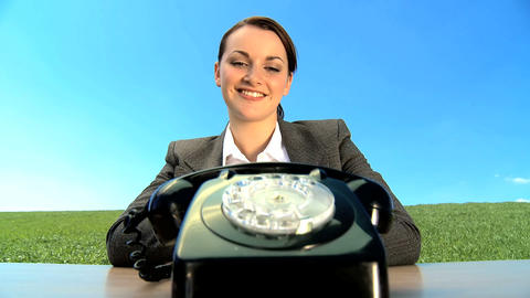 Concept shot of young businesswoman in city clothes using... Stock Video Footage