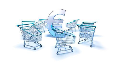 shopping cart euro 2 Stock Video Footage