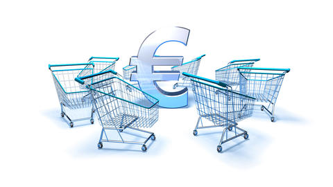 shopping cart euro 2 Stock Video Footage