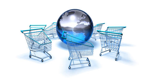 shopping cart world 2 Stock Video Footage