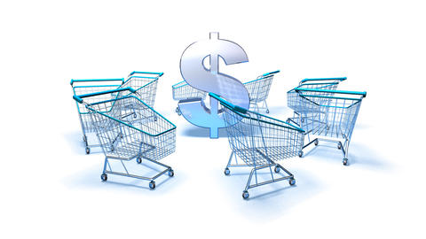 shopping cart dollar 2 Stock Video Footage