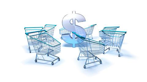 shopping cart dollar 2 Stock Video Footage
