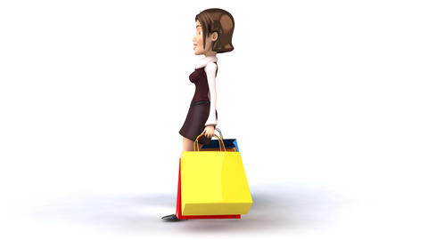 shopping girl side profile Stock Video Footage