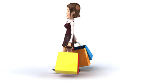 shopping girl side profile Animation