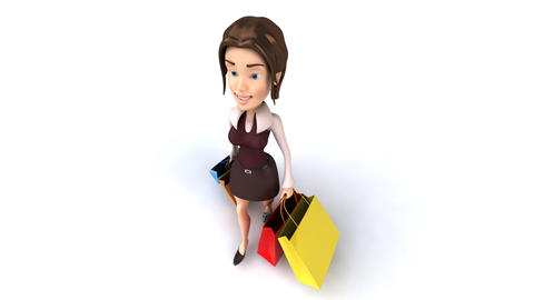 shopping girl top angle Stock Video Footage