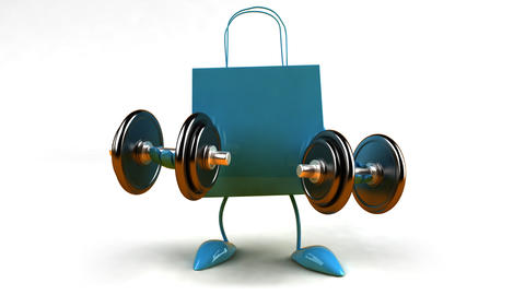 shopping bag weightlifting 2 HD Stock Video Footage
