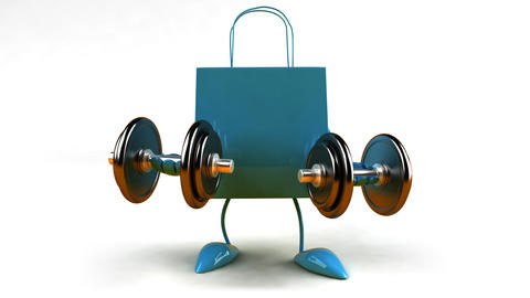 shopping bag weightlifting 2 HD Animation
