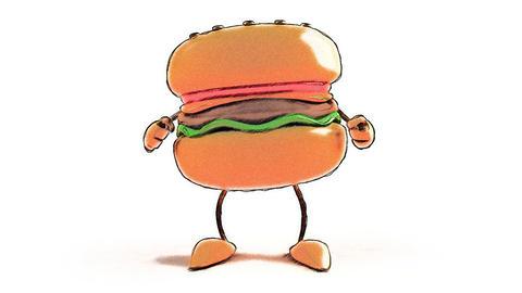 toon burger dance Stock Video Footage